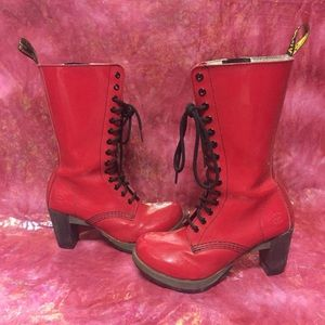 Rare Dr Martens Red Patent Leather Dee Boot Heels